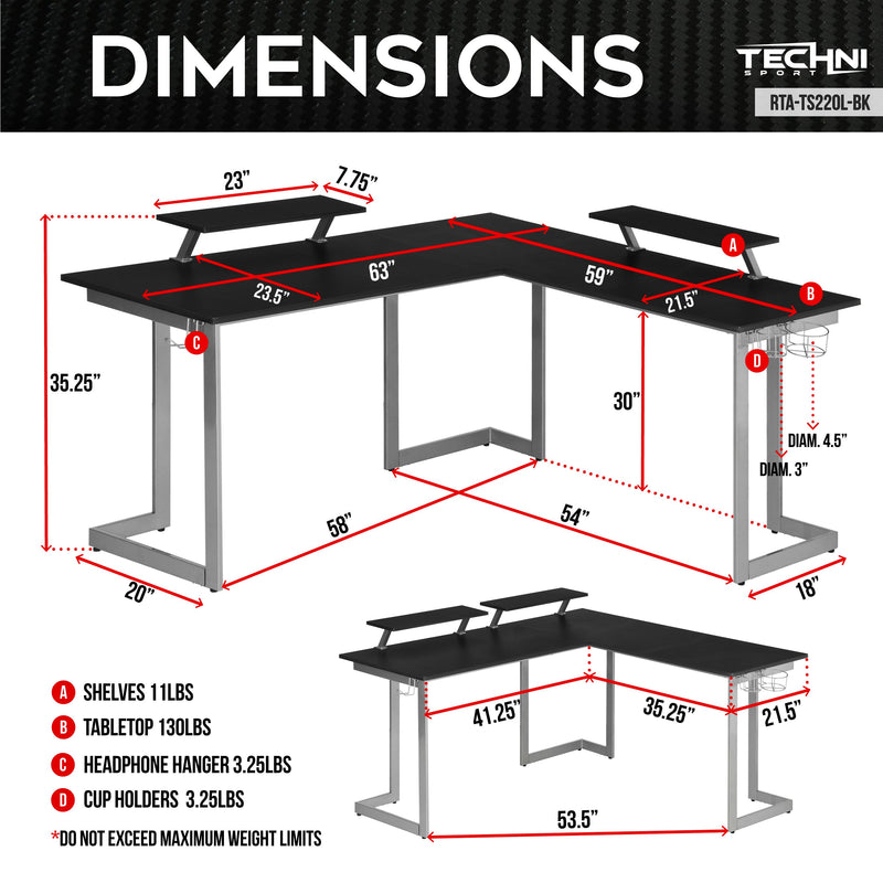 Techni Sport L-Shape Black Gaming Desk - Warrior at Gaming Girlfriends