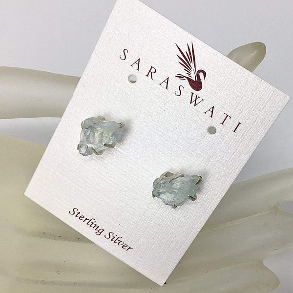 Aquamarine Rough Cut- Stud Earrings Utopianorthwest