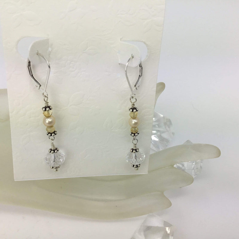 Diamond Quartz Crystal & Pearl Earrings Utopianorthwest