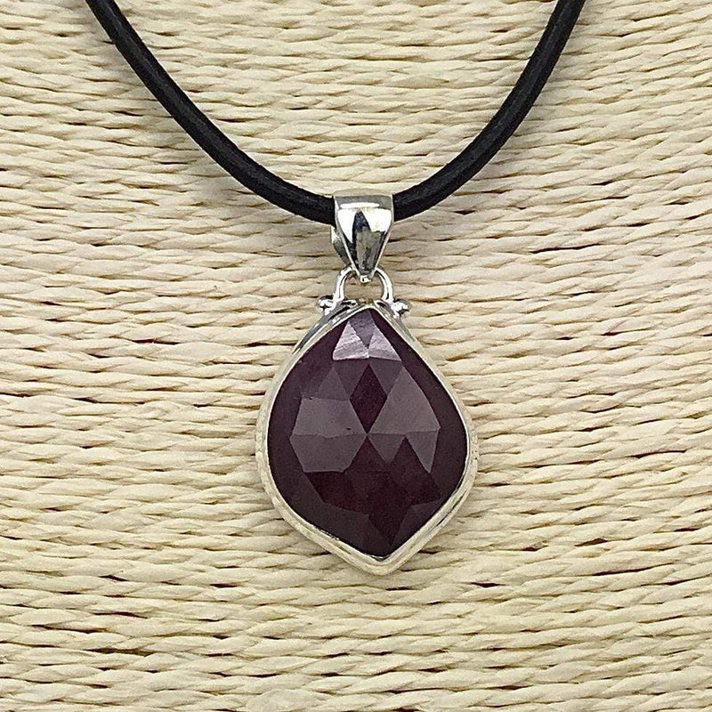 Ruby Pendant on leather cord Utopianorthwest