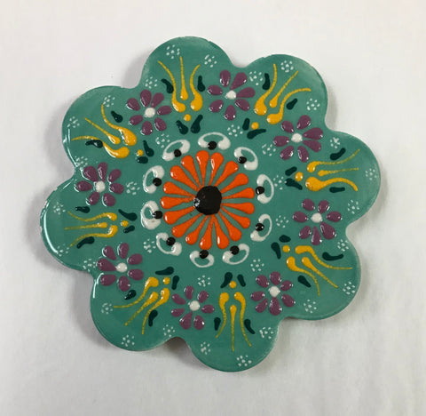 Turkish Pottery Floral Ceramic Coaster