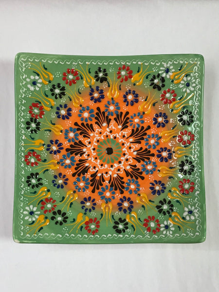 Turkish Pottery Square Plate 7""