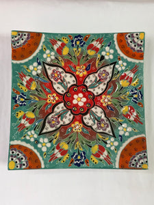 "Turkish Pottery Plate 9"" x 9"""