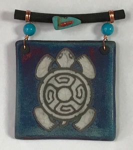 Turtle Tile Small Raku Pottery