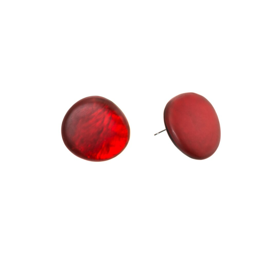 Round Red Stud Earrings