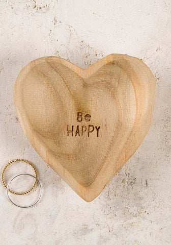 Be Happy Wood Dish