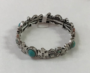 Silver Birds with Turquoise Bracelet