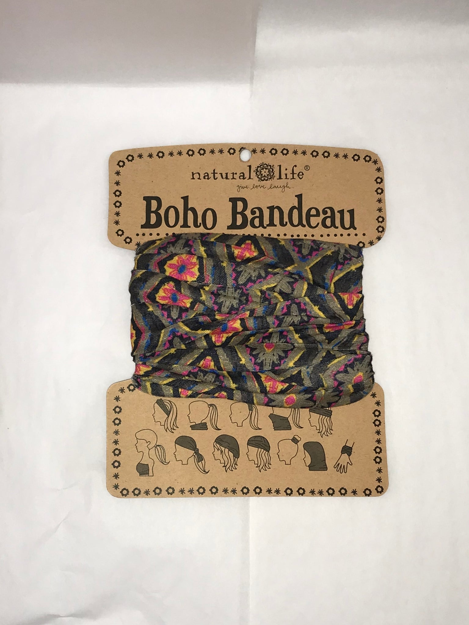 Black Diamond Print Boho Bandeau