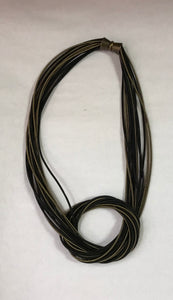 Black & Bronze Large Knot Piano Wire Necklace