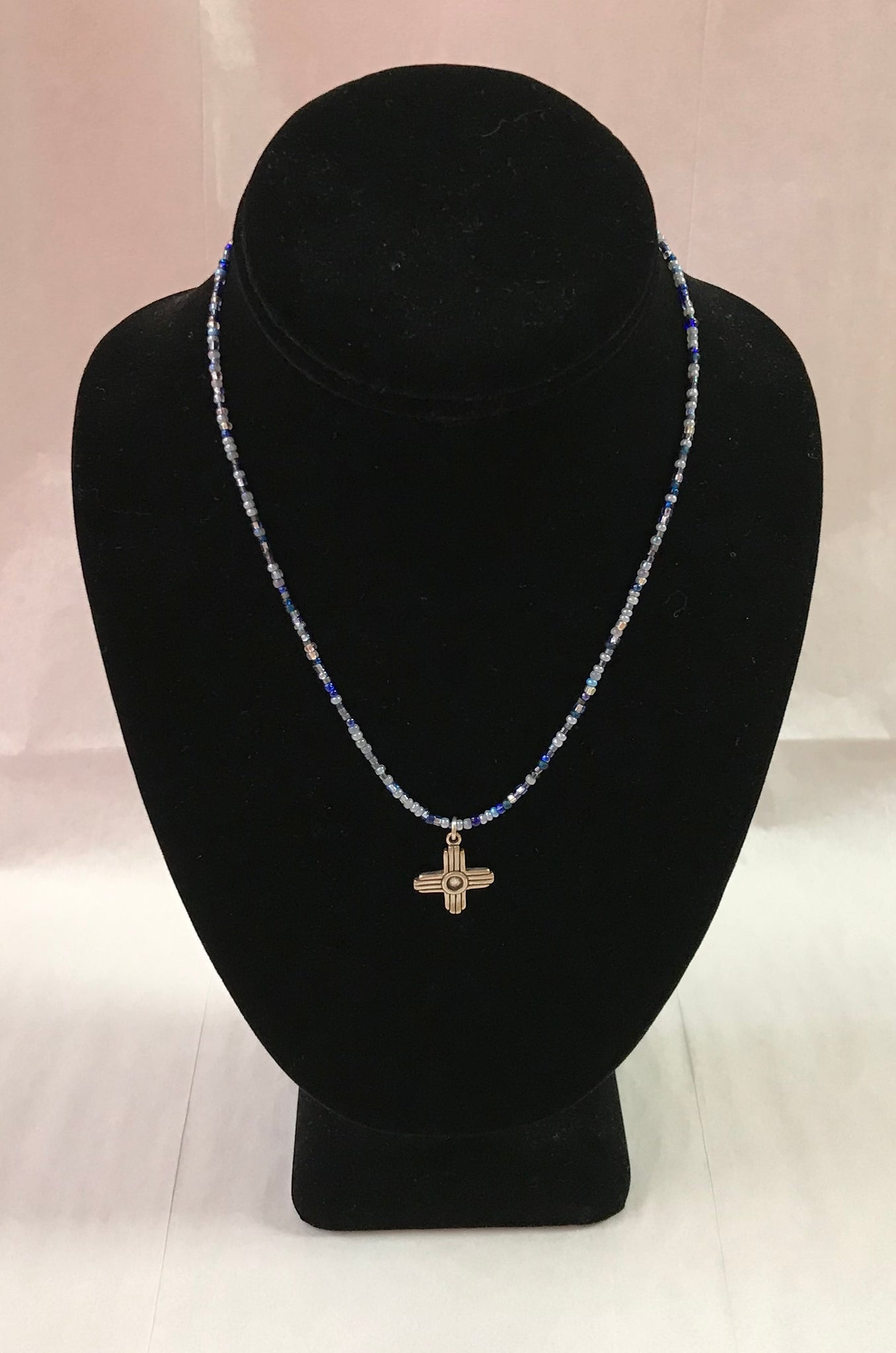Blue Seed Bead Necklace with Zia Pendant