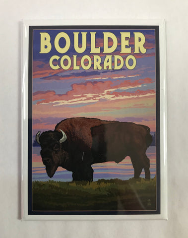 Bison Sunset Boulder Magnet