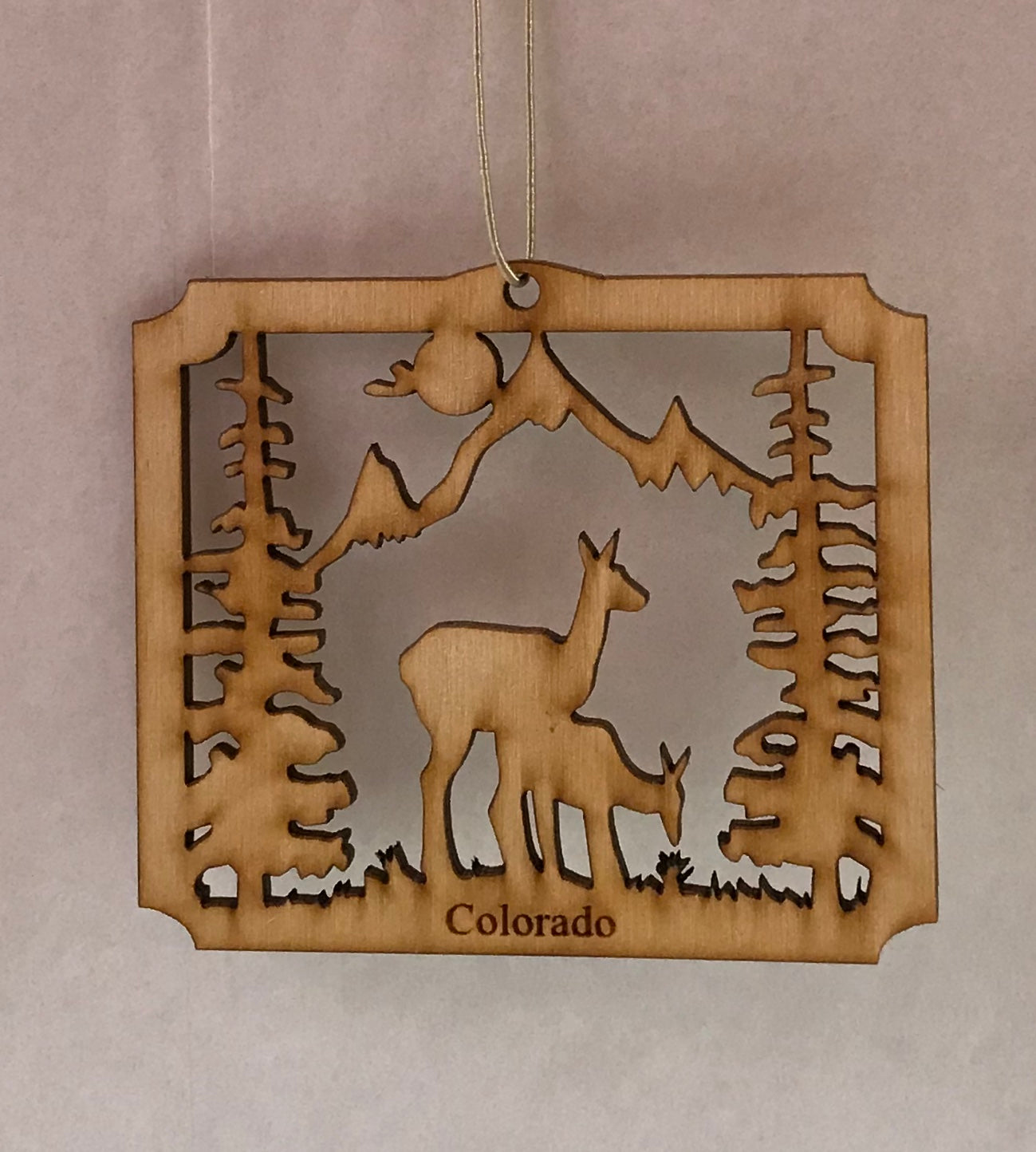 Doe & Fawn Wood Ornament