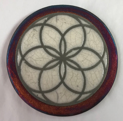 Flower of Life Crackle Coaster Raku Pottery