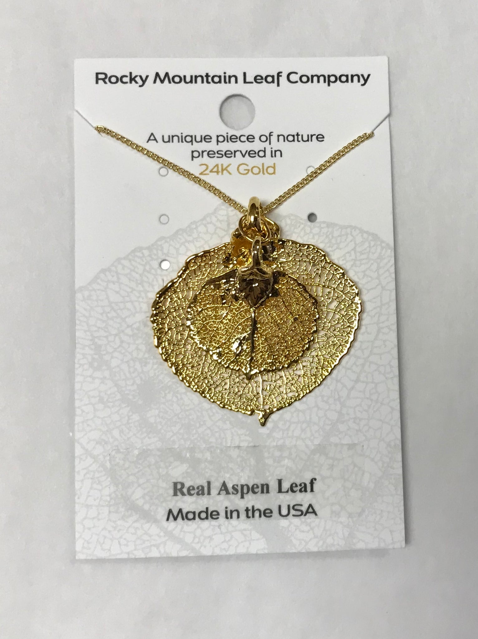Gold Double Aspen Leaf Necklace