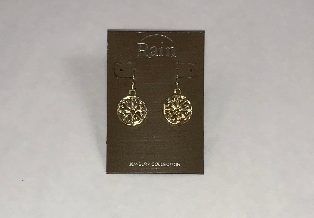 Gold Ornate Wagon Wheel Earrings