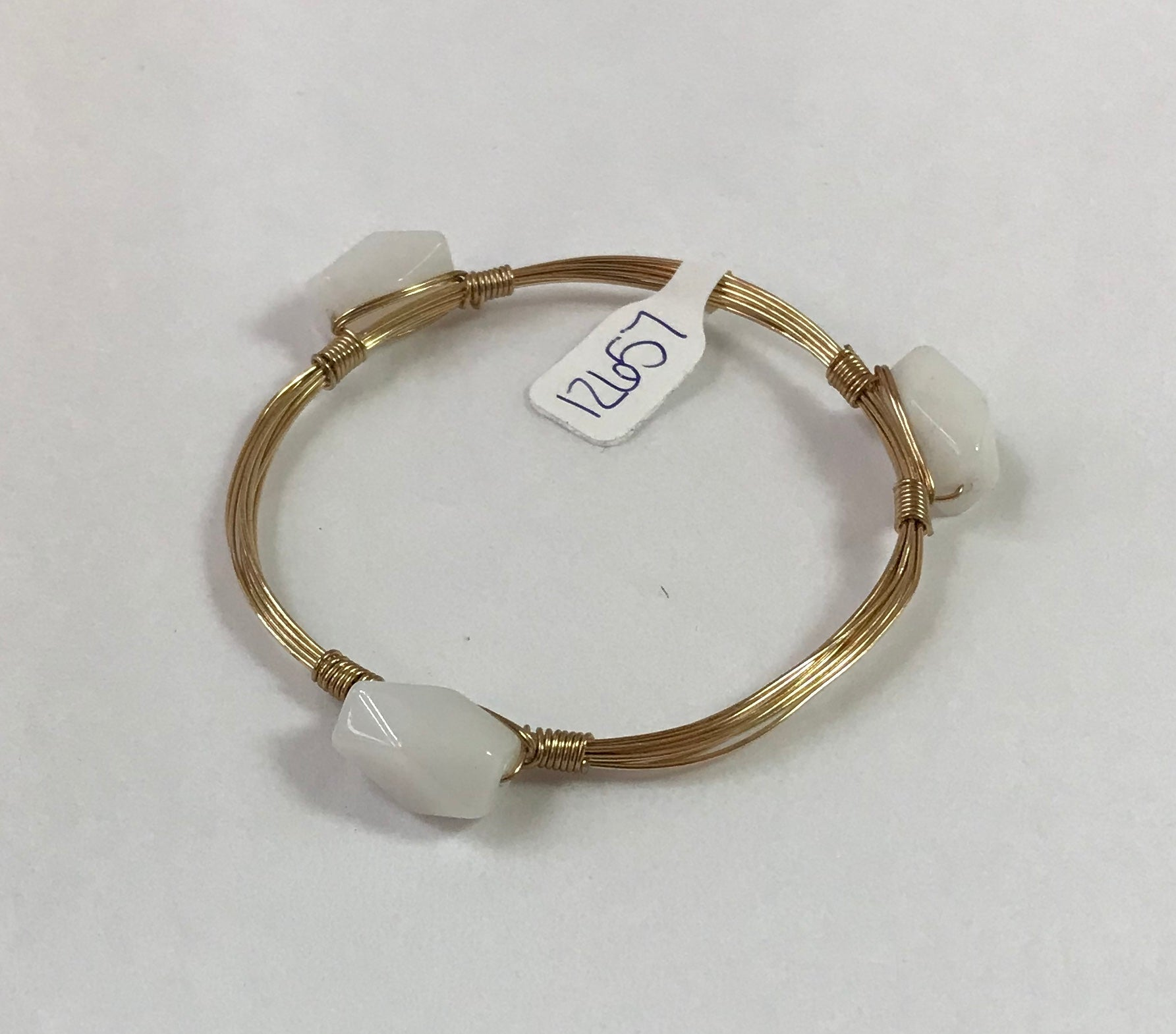 Gold with White Stones Bracelet