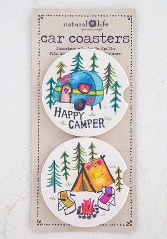 Happy Camper Car Coaster Set