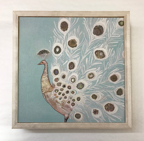 Jeweled White Peacock Mini Canvas
