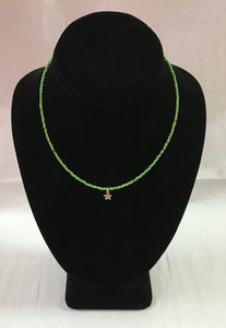 Lime Green Seed Bead Necklace with Star Pendant