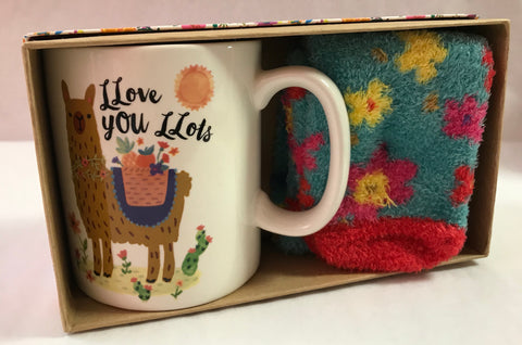 Llama Love You Lots Sock & Mug Set