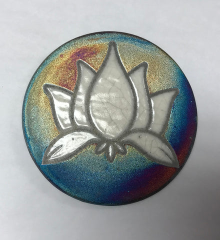 Lotus Crackle Coaster Raku Pottery