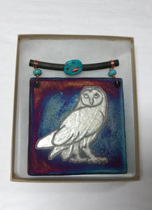 Owl Tile Small Raku Pottery
