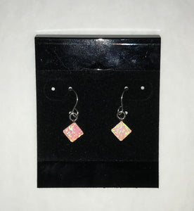 Diamond Shaped Pink Opal Earrings