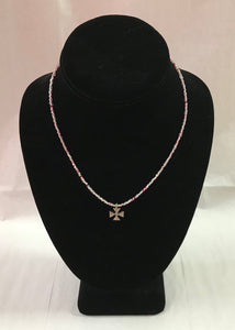 Pink Seed Bead Necklace with Cross Pendant