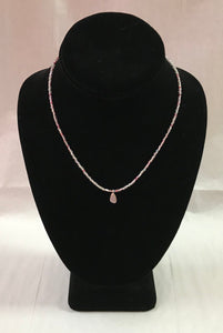 Pink Seed Bead Necklace with Rose Quartz Pendant