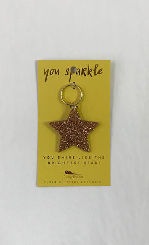 Star Gold Glitter Key Chain