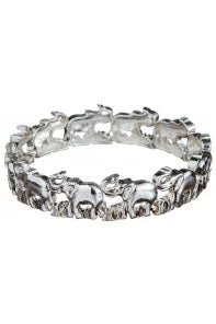 Silver Lucky Elephant Stretch Bracelet