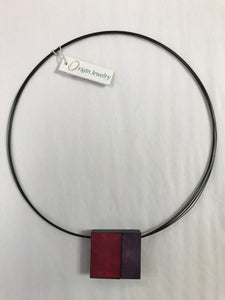 Magenta & Purple Square Magnetic Necklace