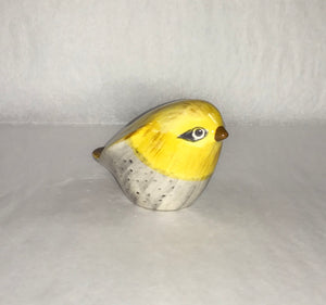Yellow & Grey Stoneware Bird