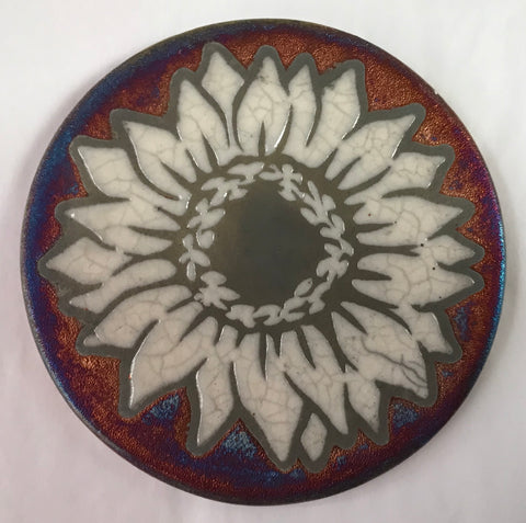 Sunflower Crackle Coaster Raku Pottery