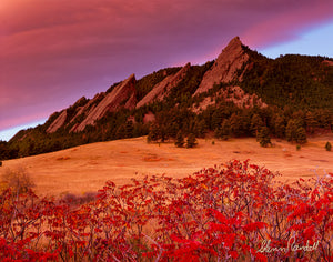 Flatirons in Fall Metal Print