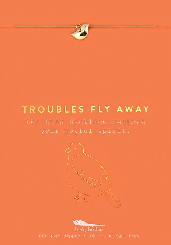 Troubles Fly Away - Gold Bird Necklace