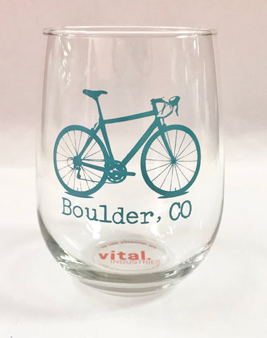 Turquoise Boulder Bike Wine Glass