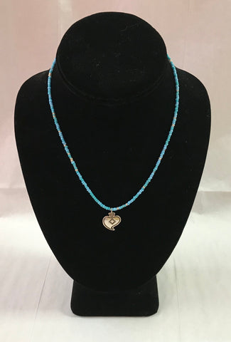 Turquoise Seed Bead Necklace with Heart Pendant