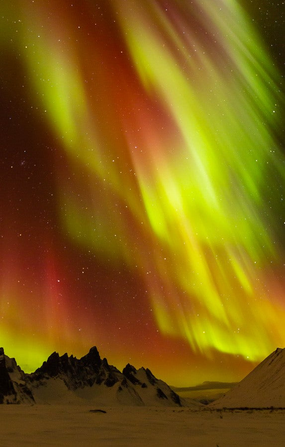 Auroral Storm Over Tombstone Mountain Card