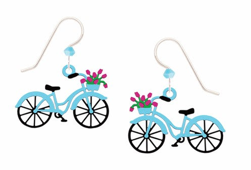 Bike w/Flowers In Basket Earring