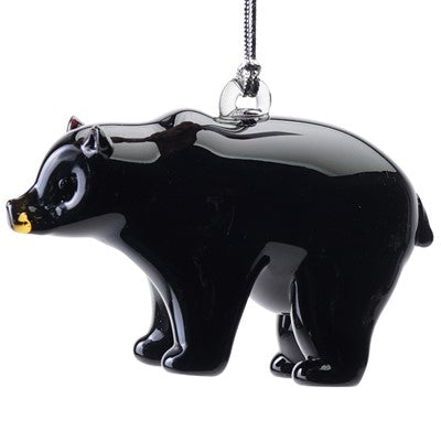 Glass Black Bear Ornament