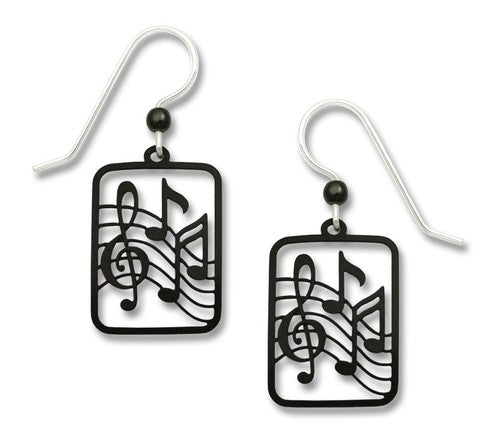 Black Treble Clef & Notes Earring