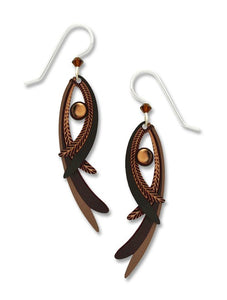 Bronze & Brown Feather Earring