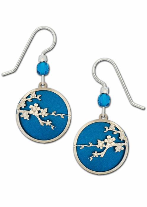 Blue with Silver-toned Cherry Blossom Earring