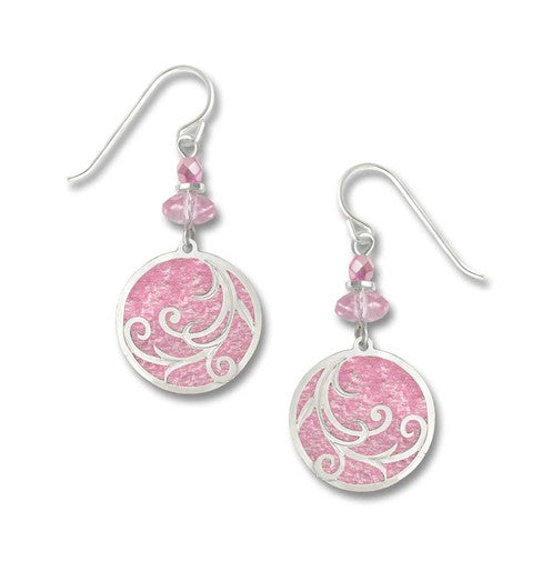 Light Pink Circle w/Silver-tone Overlay Earring