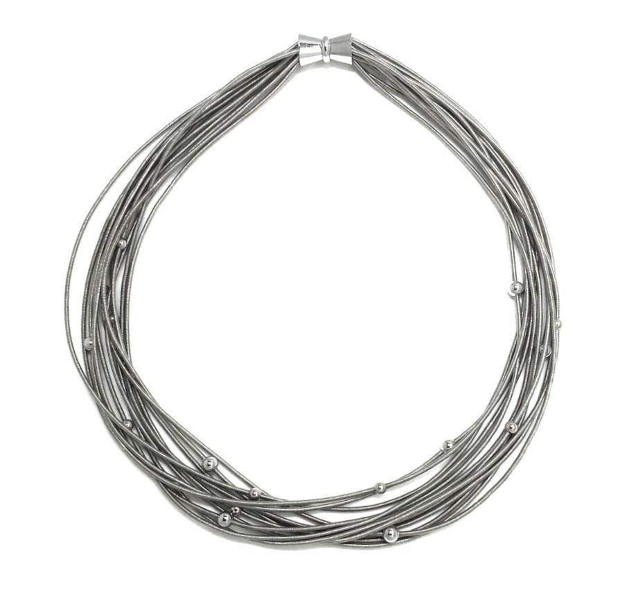 Silver with Beads Multi Strand  Piano Wire Necklace