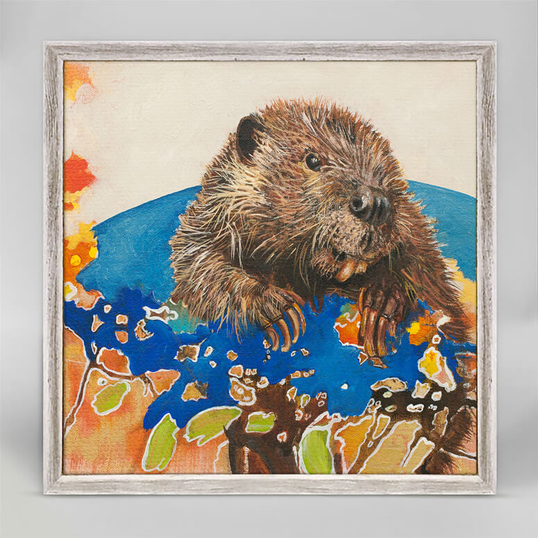 On Top of the World Beaver Mini Canvas