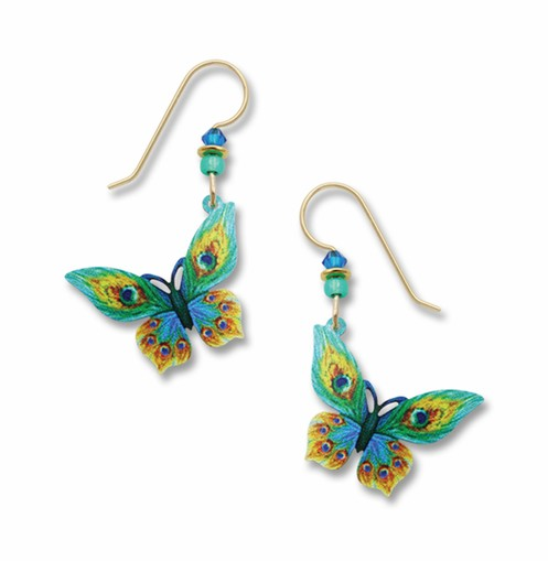 Peacock Feather Butterfly Earring