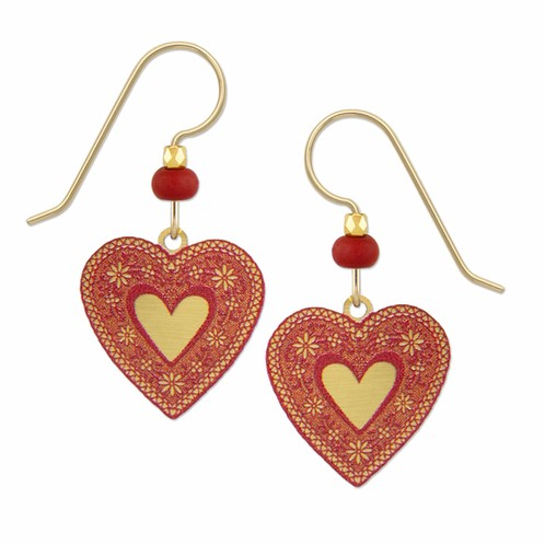 Red Lace Heart Earring