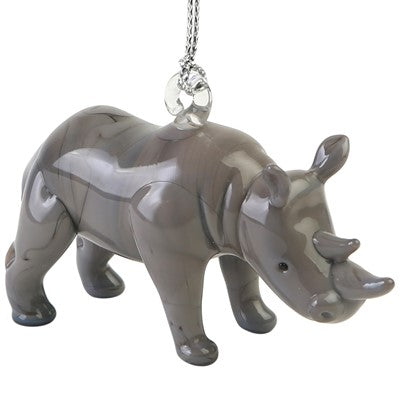 Glass Rhino Ornament